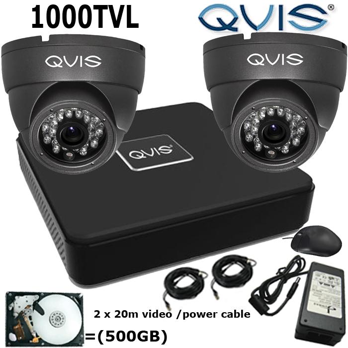 Two Camera Qvis Cctv System Hdmi 4ch Dvr 500gb 2 Eyeball