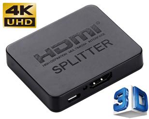 Mini 2 Way 4K HDMI Splitter, 1x HDMI input, 2x HDMI output, USB Powered
