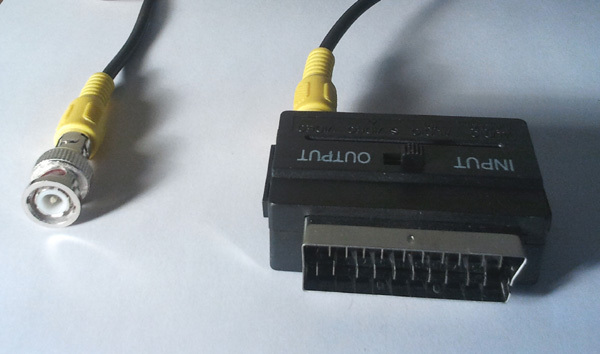 Video Adapter Cable Bnc Scart Dvr Or Camera To Tv