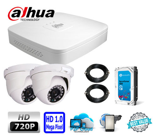 Complete HD CCTV System, 2 HD dome cameras incl. DVR and fitted Hard Drive - 720p (1280x720pixel)