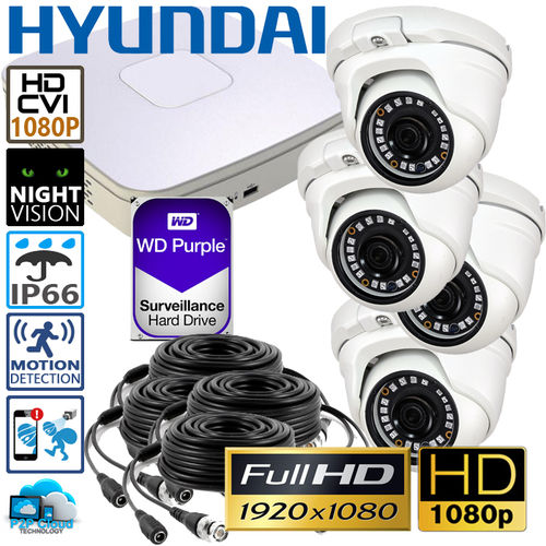 DIY Hyundai Complete Full HD CCTV System, 4 HD cameras incl. DVR and 1TB fitted storage - 1080p