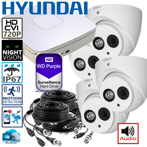 DIY complete HD CCTV System, 4 HD dome cameras incl. DVR with storage, audio - 720p (1280x720pixel)