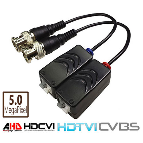 Pair of video baluns for HDCVI / HDTVI / AHD over UTP Cat5, Cat6 unshielded twisted pair up to 5MPix