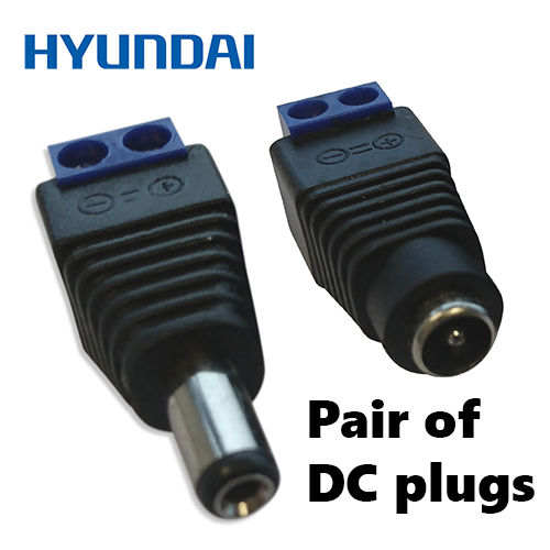 Pair DC Power Connectors Plugs male / female 2.1mm with Screw Terminal Block